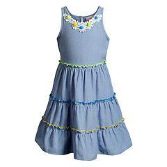 f03bc20fc042 Girls 4-6x Youngland Tiered Woven Chambray Dress