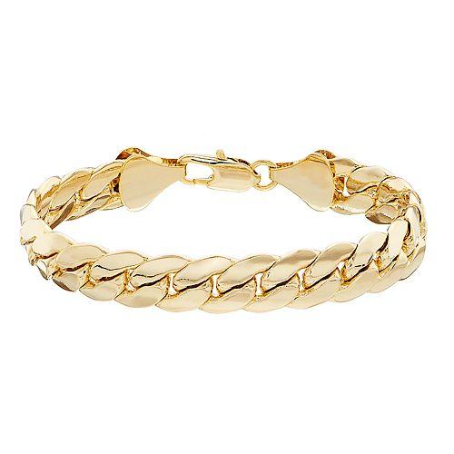Men's 14k Gold Plated Miami Cuban Chain Bracelet