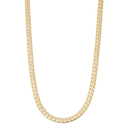 Men's 14k Gold Plated Cuban Chain Necklace