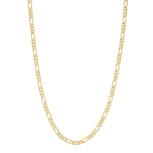 Men's 14k Gold Plated Figaro Chain Necklace