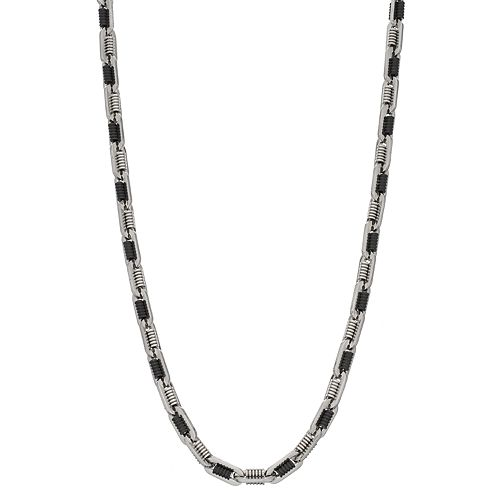 Men's Oxidized Stainless Steel Chain Necklace