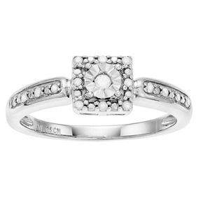 Sterling Silver Square Diamond Promise Ring