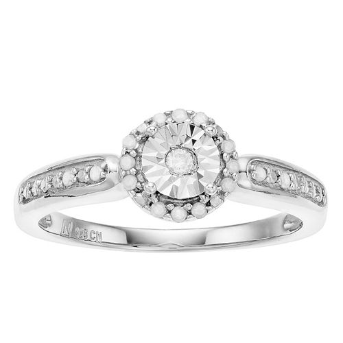 Sterling Silver Round Cut Diamond Accent Promise Ring