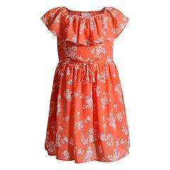 Girls 4-6x Youngland Chiffon Floral Ruffle Dress
