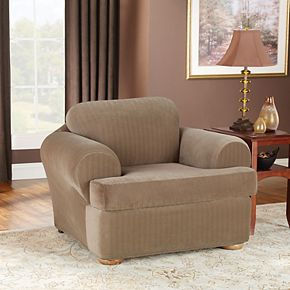 Sure Fit Stretch Pinstripe 2-piece T Cushion Chair Slipcover