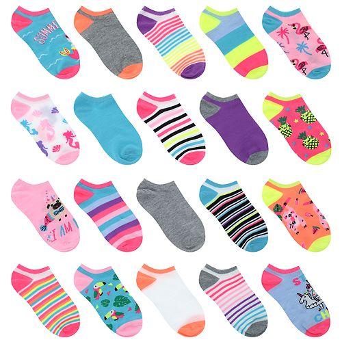 Girls 5-16 20-pack Summer Critter Friends No-Show Socks