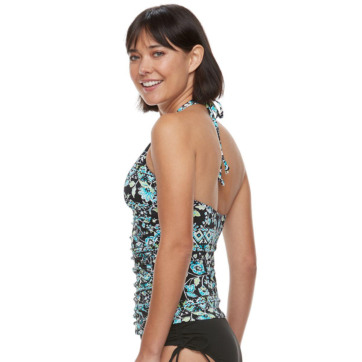 Women's Apt. 9® Ruched Halterkini Top Street Stripe OlHW3