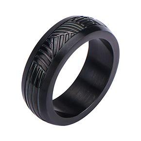 Men's Black Plated Polished CNC Carving Ring