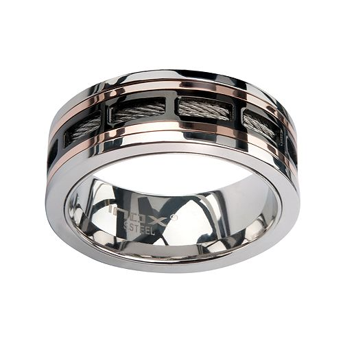 Men's Black Plated Spinner Window Stainless Steel Ring