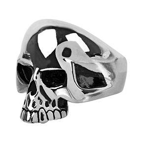 Men's Black Oxidized Skull Ring