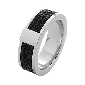 Men's Black Cable Inlayed Comfort Fit Ring