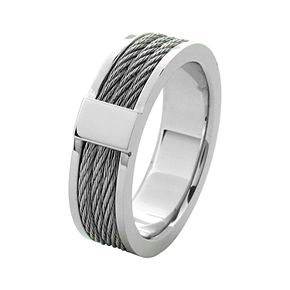 Men's Steel Cable Inlayed Comfort Fit Ring