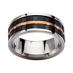 Men's Two-Tone Stainless Steel Groove Spinner Ring