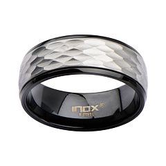 Men's Stainless Steel Matte & Plated Black Spinner Ring