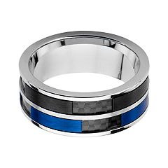 Men's Black & Blue Carbon Fiber Inlay Ring