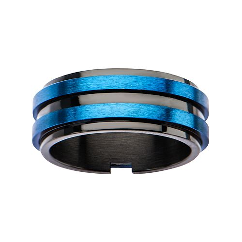 Men's Black & Blue Plated Matte Layer Ring