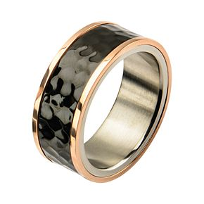 Men's Stainless Steel Tri-Tone Hammered Finish Ring