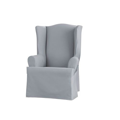 Sure Fit Sailcloth T Cushion Wing Chair Slipcover