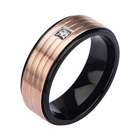 Men's Two-Tone 3-line Cubic Zirconia Ring