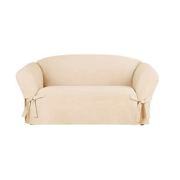 Sure Fit Sailcloth Box Cushion Loveseat Slipcover