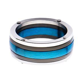 Men's Black & Blue-Plated Polished Ring