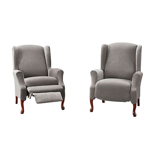 Sure Fit Stretch Pique Box Cushion Wing Recliner Slipcover