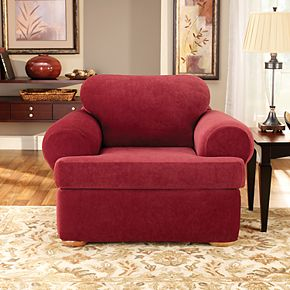 Sure Fit Stretch Pique 3-piece T Cushion Chair Slipcover