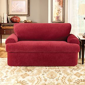 Sure Fit Stretch Pique 3-piece T Cushion Loveseat Slipcover
