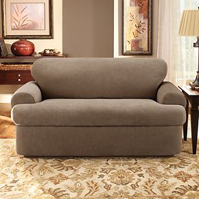 Sure Fit Stretch Pique 3-piece T Cushion Sofa Slipcover