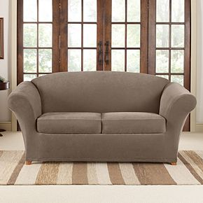 Sure Fit Stretch Pique Individual Box 2 Cushion Loveseat Slipcover