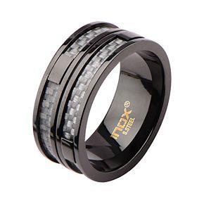 Men's Black Two-Line Gray Carbon Fiber Ring