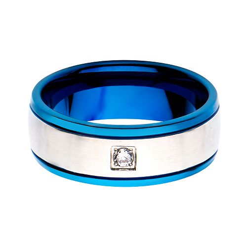 Men's Blue Plated with Clear Cubic Zirconia Ring