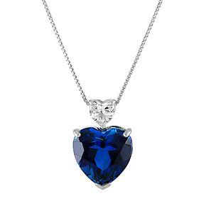 Sterling Silver Lab-Created Sapphire & White Topaz Heart Pendant Necklace
