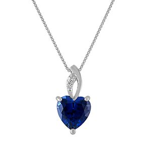 Sterling Silver Lab Created Blue & White Sapphire Heart Pendant