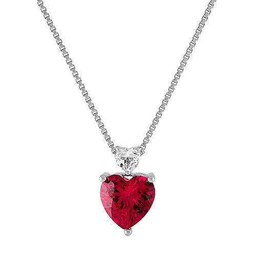 Sterling Silver Lab-Created Ruby & White Topaz Pendant Necklace