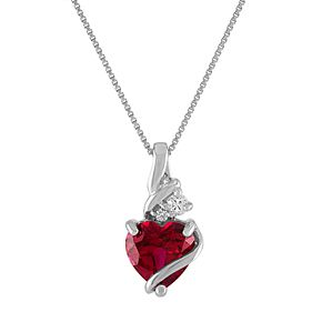 Sterling Silver Lab-Created Ruby Wrapped Heart Pendant Necklace