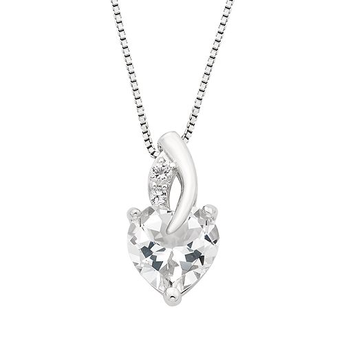 Sterling Silver White Topaz Heart Pendant Necklace