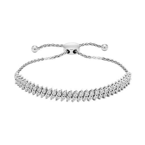 Sterling Silver Double Row 1/5 Carat T.W. Diamond Adjustable Bracelet