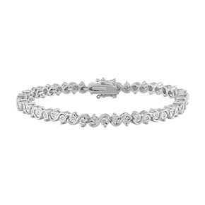 """Sterling Silver 1/4 Carat T.W. Diamond """"S"""" Link Bracelet"""