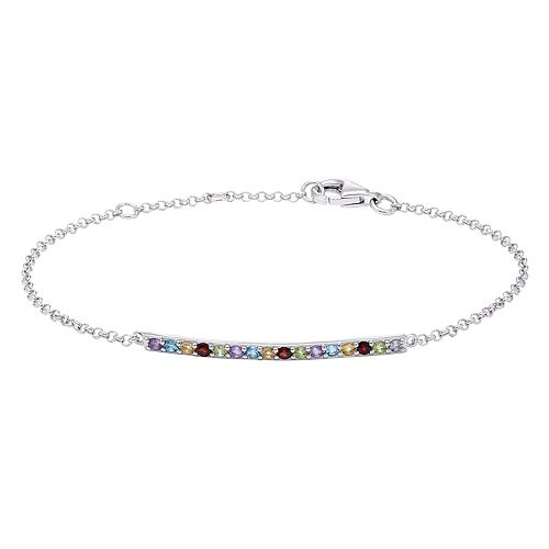 Sterling Silver Multi Gemstone Bar Bracelet