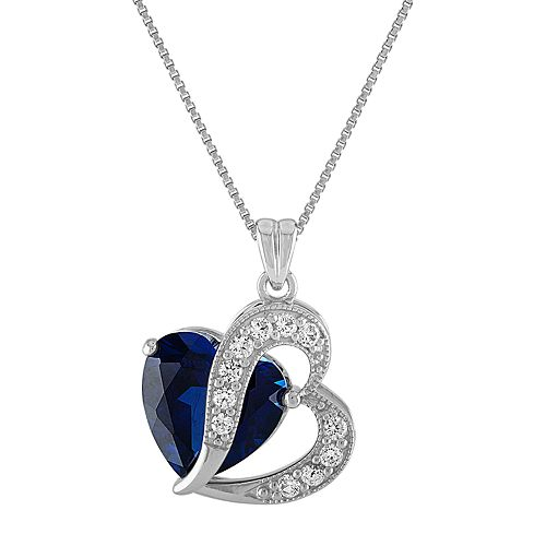 Sterling Silver Lab-Created Blue & White Sapphire Heart Pendant