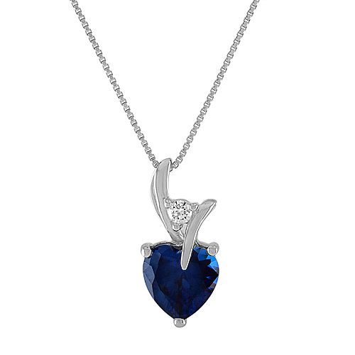 Sterling Silver Lab-Created Sapphire Heart Pendant