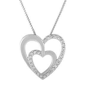 Sterling Silver Lab-Created White Sapphire Double Heart Pendant Necklace