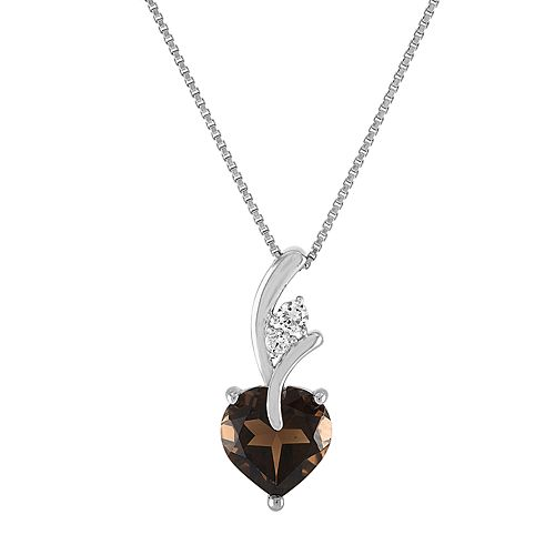 Sterling Silver Smoky Topaz & Lab-Created White Sapphire Heart Pendant