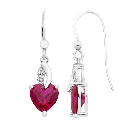 Sterling Silver Lab-Created Ruby & White Sapphire Drop Earrings