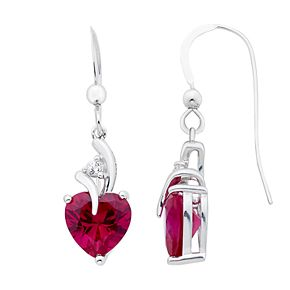 Sterling Silver Lab-Created Ruby & White Sapphire Heart Drop Earrings