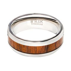 Men's Wood Inlayed Titanium Ring