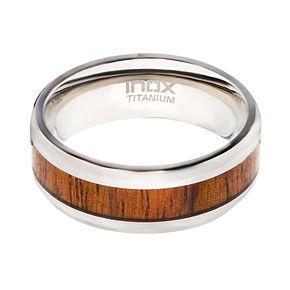 Men's Wood Inlayed Titanium Ring
