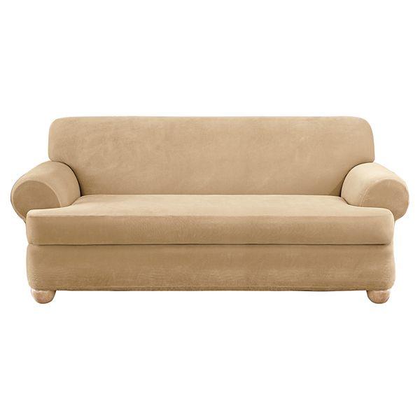 Sure Fit Stretch Pique 2 Piece T Cushion Sofa Slipcover