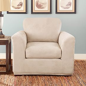 Sure Fit Stretch Suede 3-piece Cushion Chair Slipcover